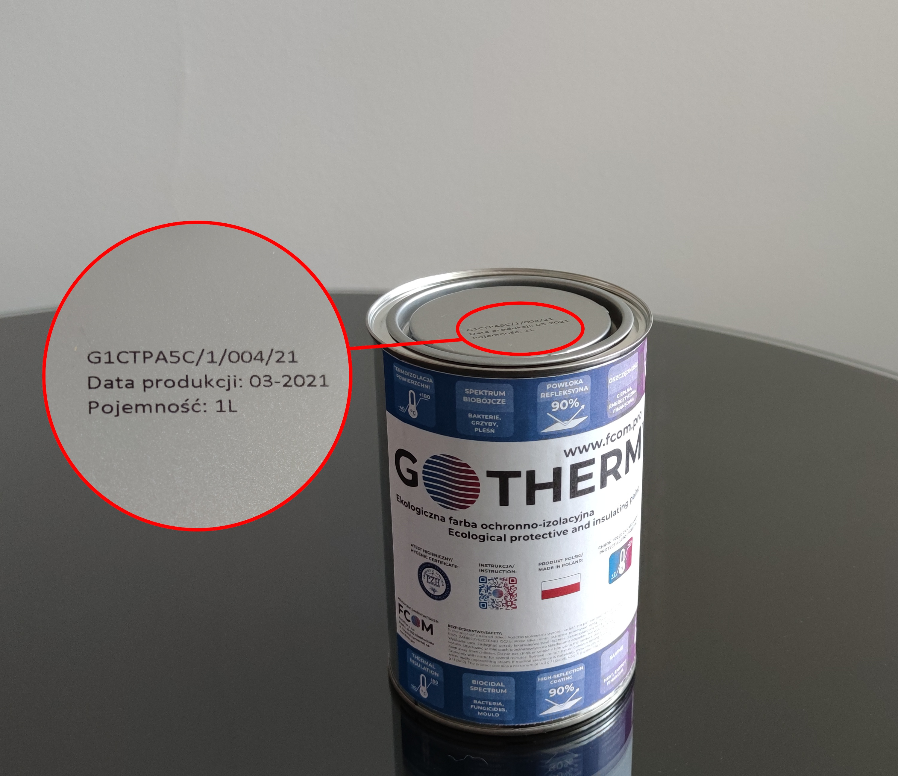 Thermal insulation paint - where to check the production date