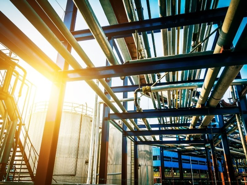 Pipes in factories and the thermal insulation coating
